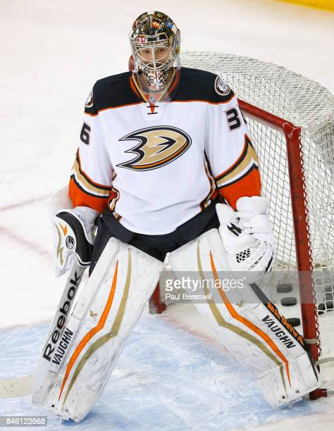 Goaltender John Gibson of the Anaheim Ducks warms up before the game against the New York Rangers at Madison Square Garden on March 22 2015 in New...