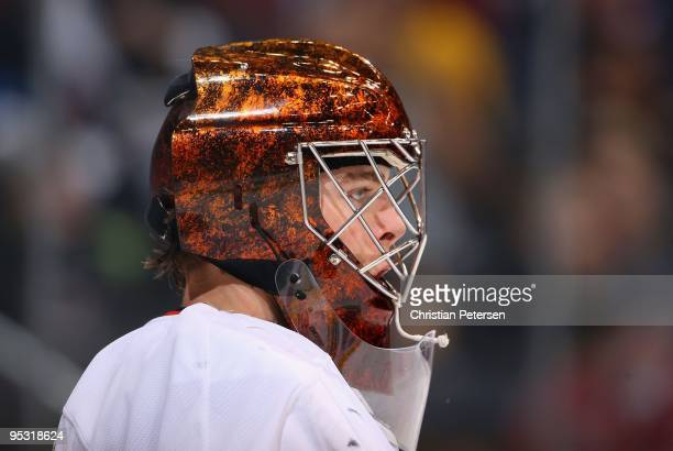 Goaltender Jonas Hiller of the Anaheim Ducks in action during the NHL game against the Phoenix Coyotes at Jobingcom Arena on December 23 2009 in...