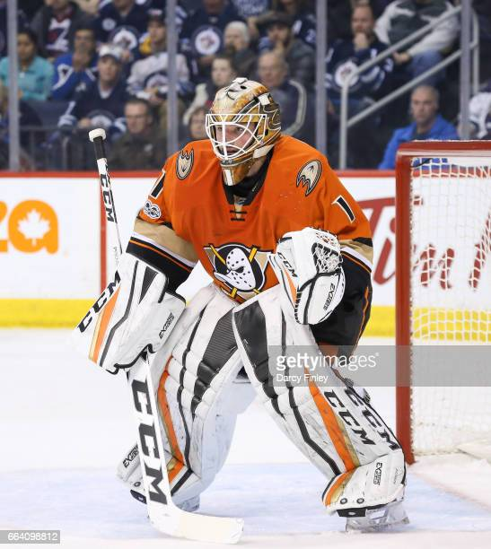Goaltender Jonathan Bernier of the Anaheim Ducks guards the net during third period action against the Winnipeg Jets at the MTS Centre on March 30...