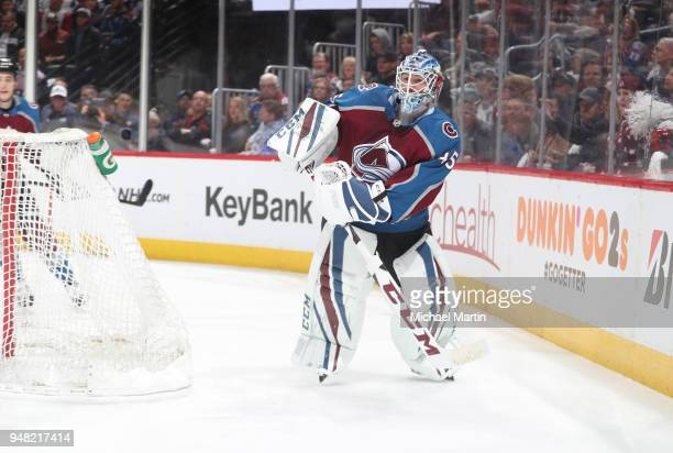 Goaltender Jonathan Bernier of the Colorado Avalanche clears the puck against the Nashville Predators in Game Three of the Western Conference First...