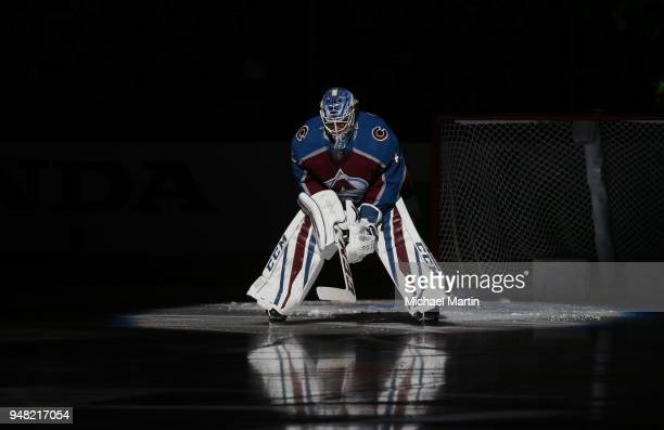 Goaltender Jonathan Bernier of the Colorado Avalanche is introduced prior to the game against the Nashville Predators in Game Three of the Western...