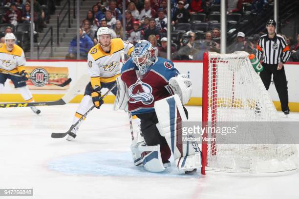 Goaltender Jonathan Bernier of the Colorado Avalanche makes a save against the Nashville Predators in Game Three of the Western Conference First...