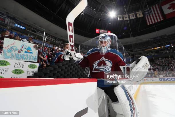 Goaltender Jonathan Bernier of the Colorado Avalanche takes to the ice prior to the game skates against the Nashville Predators in Game Three of the...