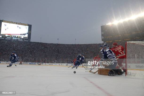 Goaltender Jonathan Bernier of the Toronto Maple Leafs makes a save in overtime against the Detroit Red Wings during the 2014 Bridgestone NHL Winter...