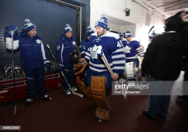 Goaltender Jonathan Bernier of the Toronto Maple Leafs walks back to the locker room during 2014 Bridgestone NHL Winter Classic team practice session...