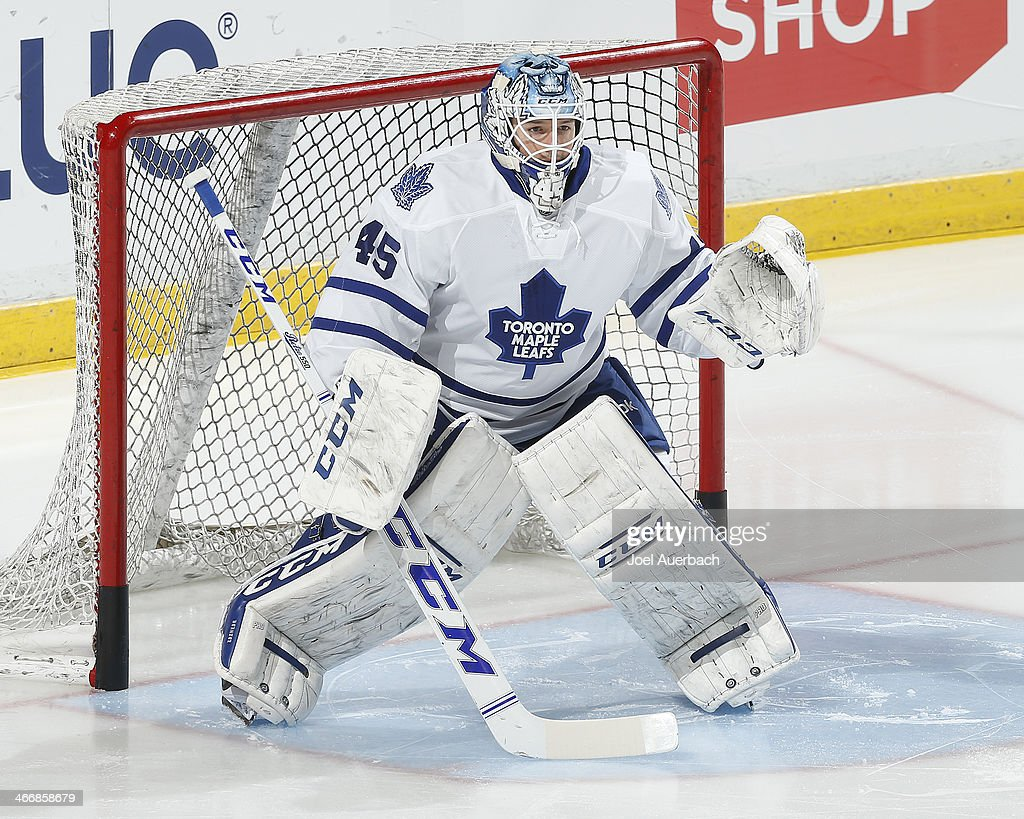 Goaltender Jonathan Bernier #45 of the Toronto Maple Leafs warms up prior to the game against the Florida Panthers at the BB&T Center on February 4, 2014 in Sunrise, Florida.