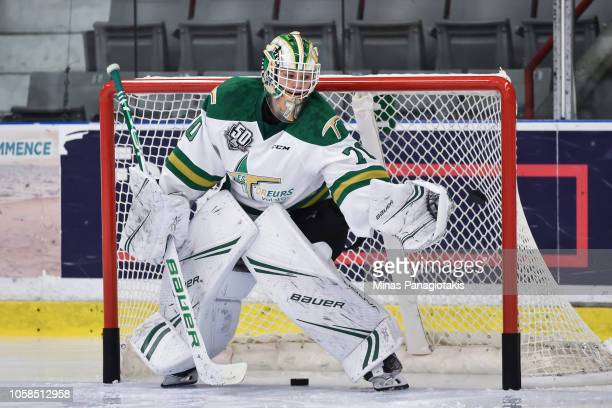 Goaltender Jonathan Lemieux of the Valdu2019Or Foreurs makes a save in the warmup prior to the QMJHL game against the BlainvilleBoisbriand Armada at...