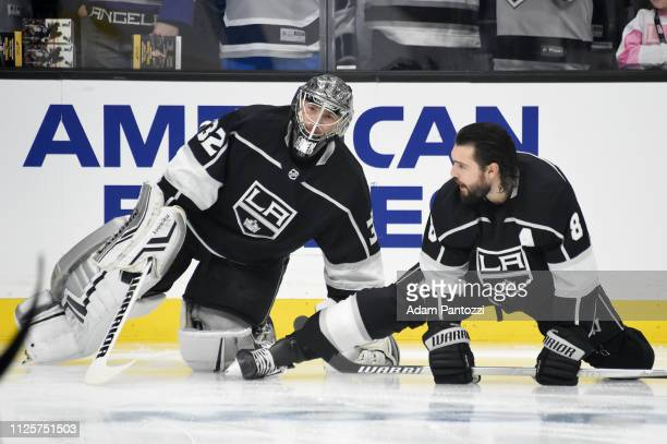 Goaltender Jonathan Quick and Drew Doughty of the Los Angeles Kings talk during warmup before the game against the Washington Capitals at STAPLES...