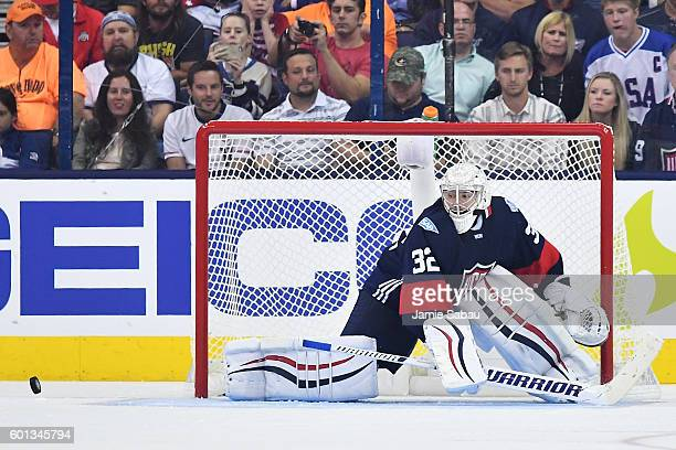 Goaltender Jonathan Quick of Team USA defends the net during the second period of an exhibition game against Team Canada on September 9 2016 at...