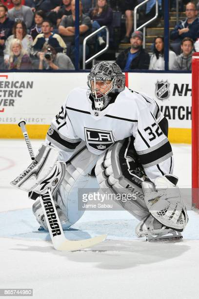 Goaltender Jonathan Quick of the Los Angeles Kings defends the net against the Columbus Blue Jackets on October 21 2017 at Nationwide Arena in...