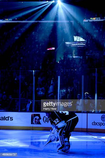 Goaltender Jonathan Quick of the Los Angeles Kings in the net before taking on the Chicago Blackhawks in Game Three of the Western Conference Final...