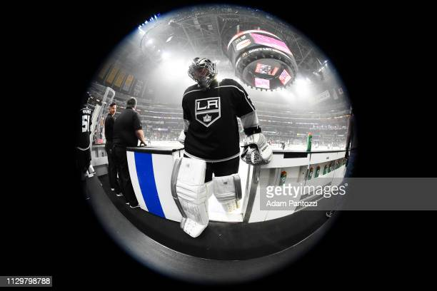 Goaltender Jonathan Quick of the Los Angeles Kings leaves the ice after warmup before the game against the Vancouver Canucks at STAPLES Center on...