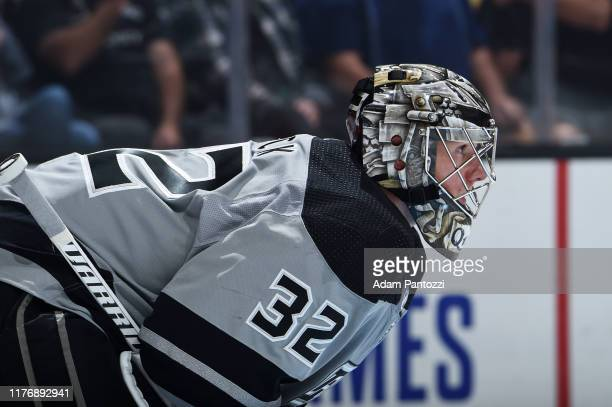 Goaltender Jonathan Quick of the Los Angeles Kings looks on during the second period of the game against the Calgary Flames at STAPLES Center on...