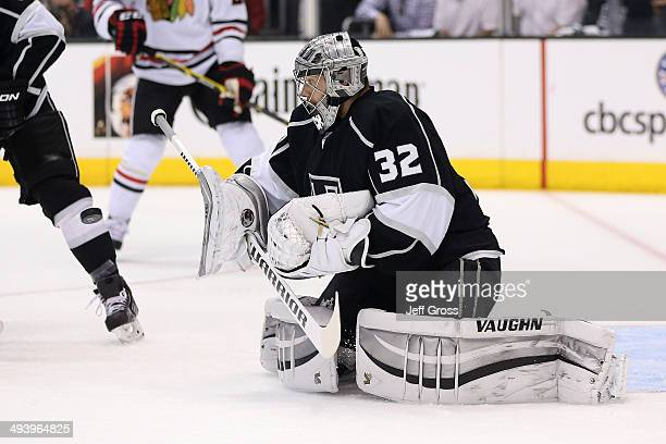Goaltender Jonathan Quick of the Los Angeles Kings makes a save in the first period while taking on the Chicago Blackhawks in Game Four of the...