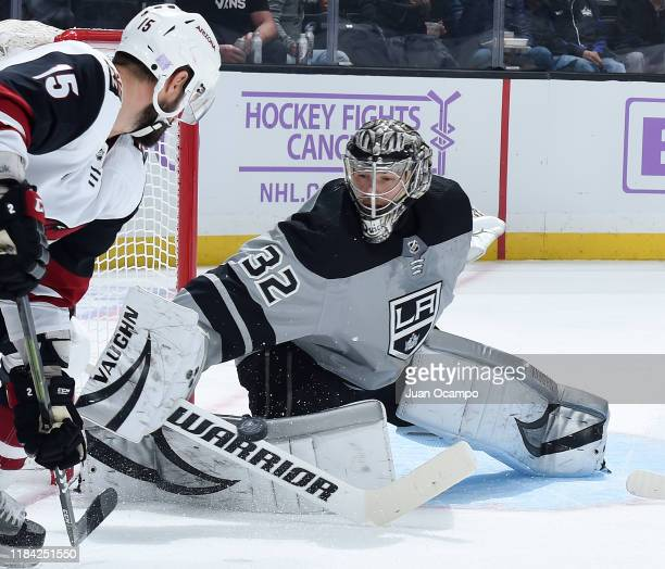 Goaltender Jonathan Quick of the Los Angeles Kings makes a save on a shot by Brad Richardson of the Arizona Coyotes during the second period of the...