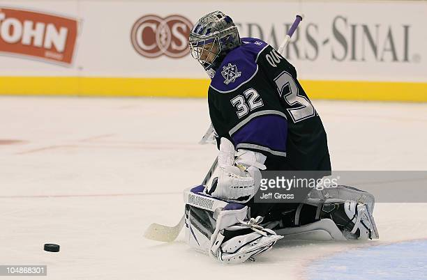 Goaltender Jonathan Quick of the Los Angeles Kings makes a save against the Anaheim Ducks at Staples Center on September 28 2010 in Los Angeles...