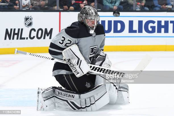 Goaltender Jonathan Quick of the Los Angeles Kings makes a save during the second period of the game against the Chicago Blackhawks at STAPLES Center...