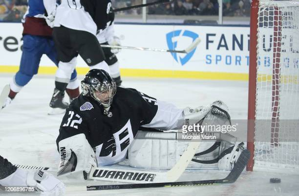 Goaltender Jonathan Quick of the Los Angeles Kings makes a save against the Colorado Avalanche at Falcon Stadium on February 15, 2020 in Colorado...