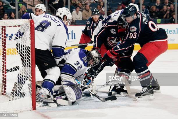 Goaltender Jonathan Quick of the Los Angeles Kings makes one of his 24 saves during a 3-0 shutout of the Columbus Blue Jackets at Nationwide Arena...