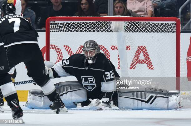 Goaltender Jonathan Quick of the Los Angeles Kings makes the save during the first period of the game against the Vegas Golden Knights at STAPLES...