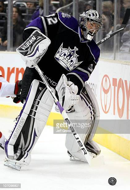 Goaltender Jonathan Quick of the Los Angeles Kings plays against the New Jersey Devils in the game at Staples Center on October 30 2010 in Los...