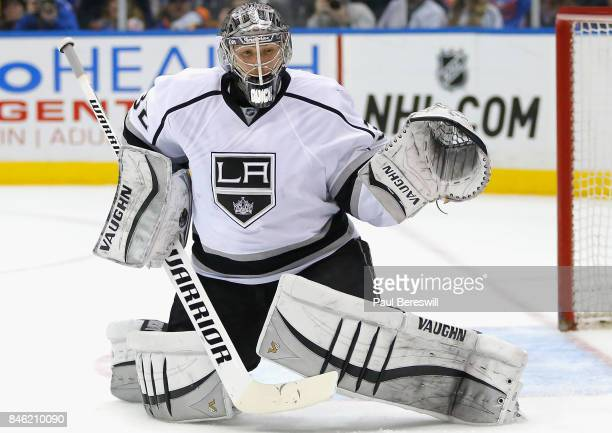 Goaltender Jonathan Quick of the Los Angeles Kings plays in the game against the New York Islanders at Barclays Center on March 26 2015 in Brooklyn...