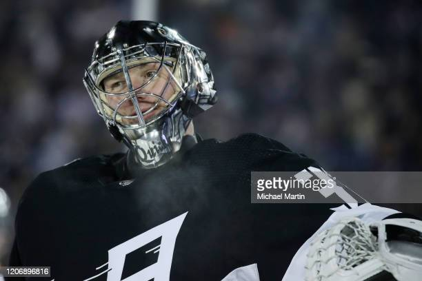 Goaltender Jonathan Quick of the Los Angeles Kings skates against the Colorado Avalanche at Falcon Stadium on February 15, 2020 in Colorado Springs,...