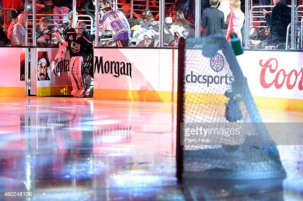 Goaltender Jonathan Quick of the Los Angeles Kings skates onto the ice before the third period against the New York Rangers during Game Two of the...