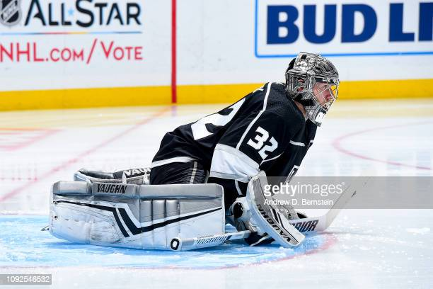 Goaltender Jonathan Quick of the Los Angeles Kings stretches before the start of the the second period of the game against the Ottawa Senators at...