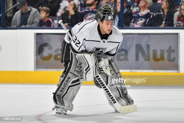 Goaltender Jonathan Quick of the Los Angeles Kings takes a breather against the Columbus Blue Jackets on December 13, 2018 at Nationwide Arena in...
