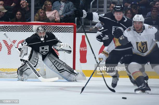 Goaltender Jonathan Quick of the Los Angeles Kings tends net during the first period of the game against the Vegas Golden Knights at STAPLES Center...