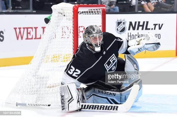 Goaltender Jonathan Quick of the Los Angeles Kings tends net during the second period of the game against the Vegas Golden Knights at STAPLES Center...