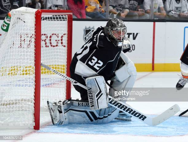 Goaltender Jonathan Quick of the Los Angeles Kings tends net during the second period of the preseason game against the Anaheim Ducks at STAPLES...