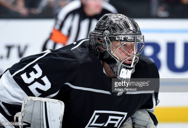 Goaltender Jonathan Quick of the Los Angeles Kings tends net during the second period of the game against the Buffalo Sabres at STAPLES Center on...