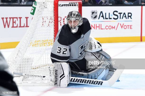 Goaltender Jonathan Quick of the Los Angeles Kings tends net during his 300th NHL career win in the second period of the game against the Edmonton...