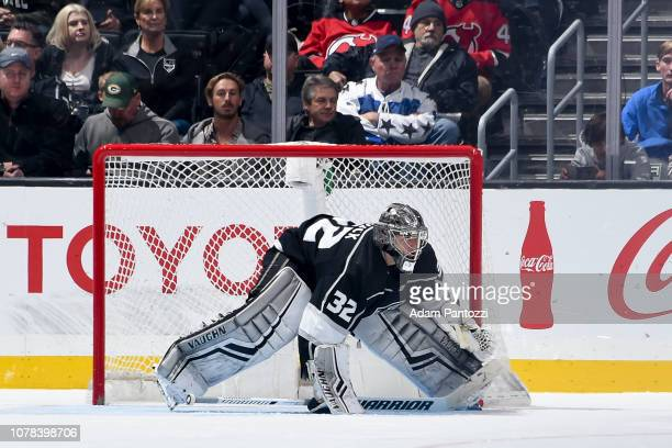 Goaltender Jonathan Quick of the Los Angeles Kings tends net during the third period of the game against the New Jersey Devils at STAPLES Center on...