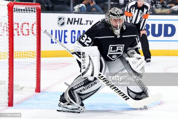 Goaltender Jonathan Quick of the Los Angeles Kings tends net during the second period of the preseason game against the Arizona Coyotes at STAPLES...