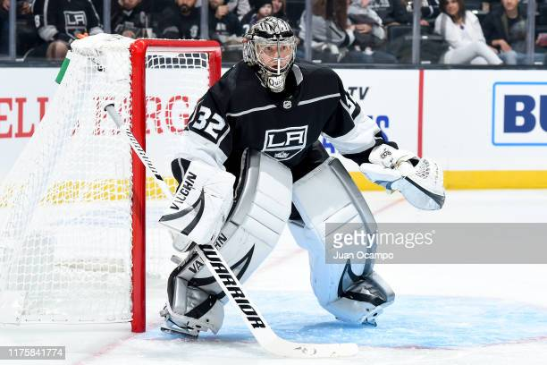 Goaltender Jonathan Quick of the Los Angeles Kings tends net during the second period of the preseason game against the Vegas Golden Knights at...
