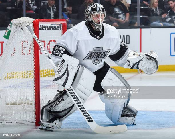 Goaltender Jonathan Quick of the Los Angeles Kings tends net during the second period of the game against the Colorado Avalanche at STAPLES Center on...