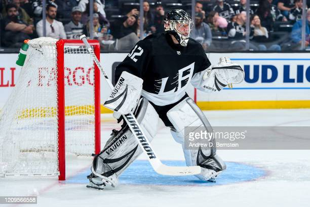Goaltender Jonathan Quick of the Los Angeles Kings tends net during the second period of the game against the New Jersey Devils at STAPLES Center on...