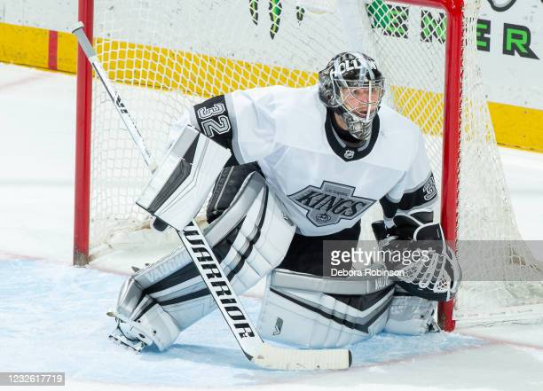 Goaltender Jonathan Quick of the Los Angeles Kings tends net during the third period of the game against the Anaheim Ducks at Honda Center on April...