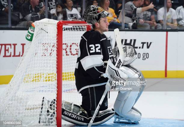 Goaltender Jonathan Quick of the Los Angeles Kings waits for play to begin during the second period of the preseason game against the Anaheim Ducks...