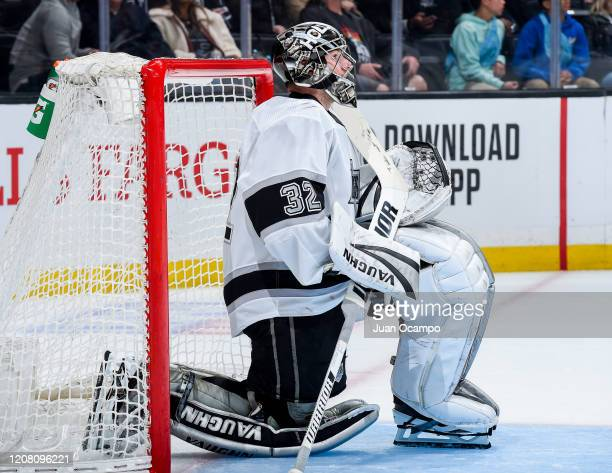 Goaltender Jonathan Quick of the Los Angeles Kings waits for the start of overtime against the Colorado Avalanche during the game at STAPLES Center...