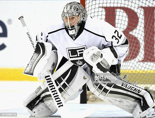 Goaltender Jonathan Quick of the Los Angeles Kings warms up before the game against the Florida Panthers at BBT Center on November 23 2015 in Sunrise...