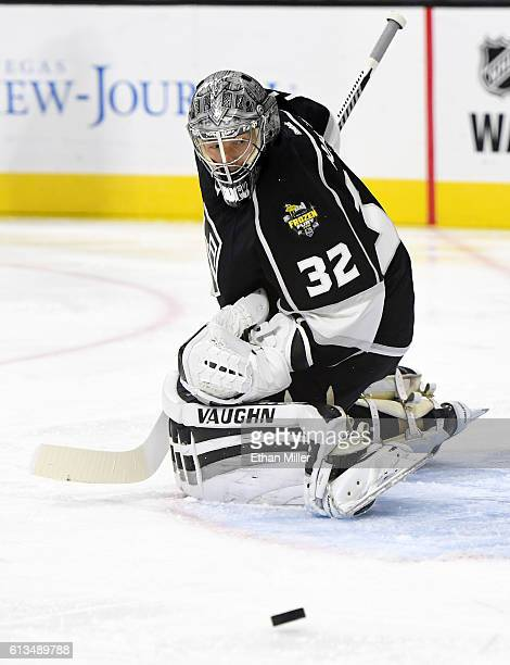 Goaltender Jonathan Quick of the Los Angeles Kings watches the puck bounce by him during a preseason game against the Colorado Avalanche at TMobile...