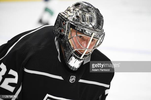 Goaltender Jonathan Quick of the Los Angeles Kings watches warmup before the game against the Vancouver Canucks at STAPLES Center on February 14 2019...