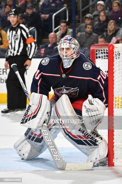 Goaltender Joonas Korpisalo of the Columbus Blue Jackets defends the net against the Buffalo Sabres on October 27 2018 at Nationwide Arena in...