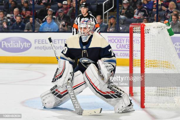 Goaltender Joonas Korpisalo of the Columbus Blue Jackets defends the net against the Florida Panthers on November 15 2018 at Nationwide Arena in...