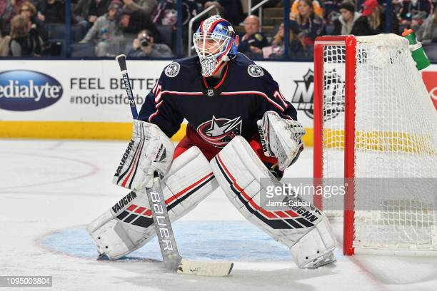 Goaltender Joonas Korpisalo of the Columbus Blue Jackets defends the net against the New Jersey Devils on January 15 2019 at Nationwide Arena in...