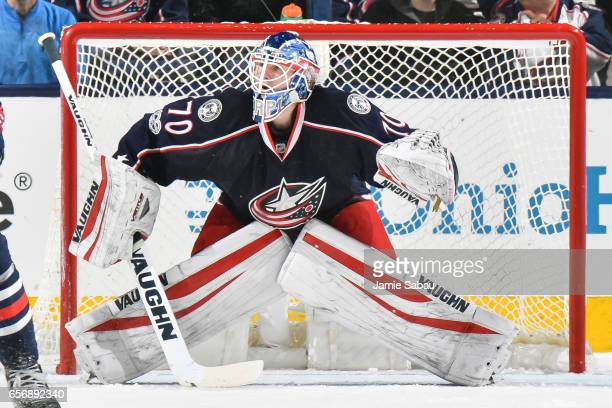 Goaltender Joonas Korpisalo of the Columbus Blue Jackets defends the net against the Toronto Maple Leafs on March 22 2017 at Nationwide Arena in...